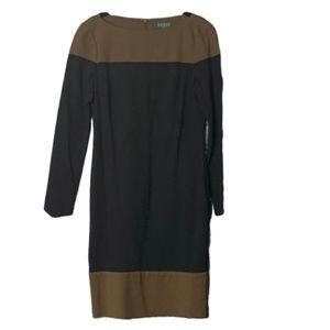 Ralph Lauren Colorblock Ponte Dress Brown Black 4
